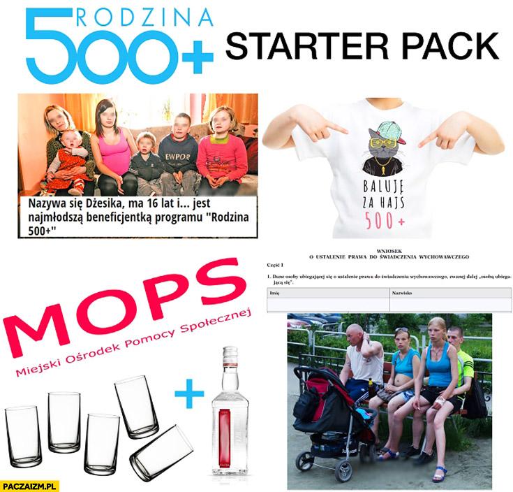 Rodzina 500+ plus starter pack: Dżesika, baluje za hajs 500 plus, MOPS, wódka, patologia