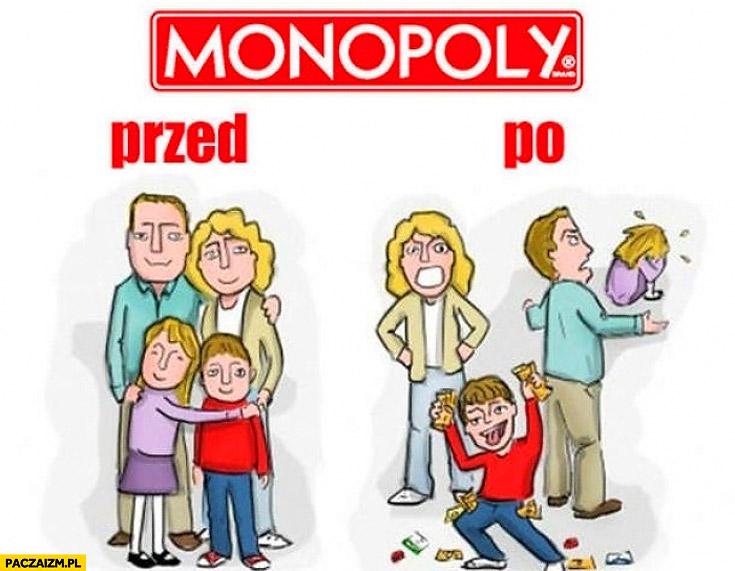 Rodzina gra w Monopoly przed po