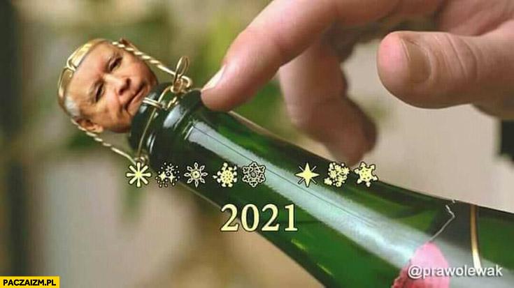 Rok 2021 szampan Kaczyński korek od szampana