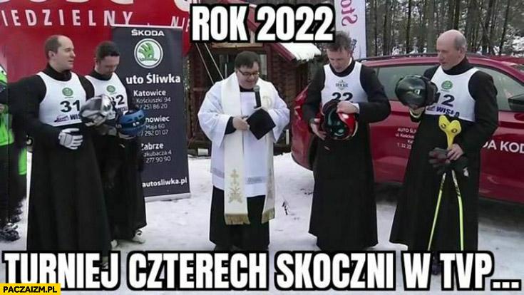 Rok 2022 turniej czterech skoczni w TVP ksiądz księża
