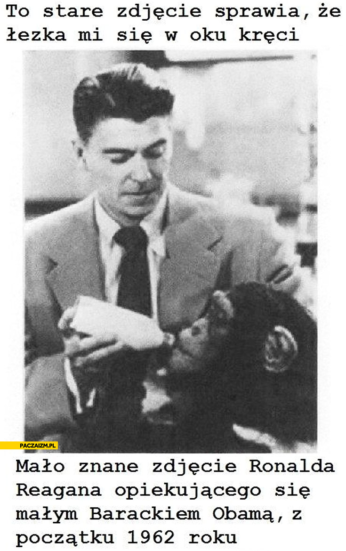 Ronald Reagan opiekujący się Barackiem Obama małpa