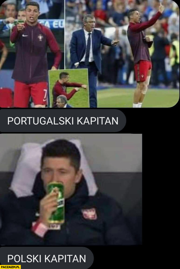Ronaldo Portugalski kapitan vs Lewandowski polski kapitan z piwem Żubr piwkiem