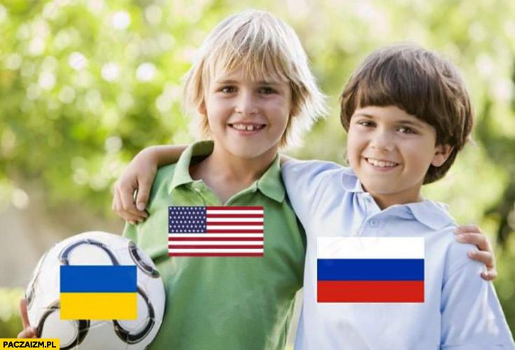 Rosja USA grają piłka Ukraina przeróbka