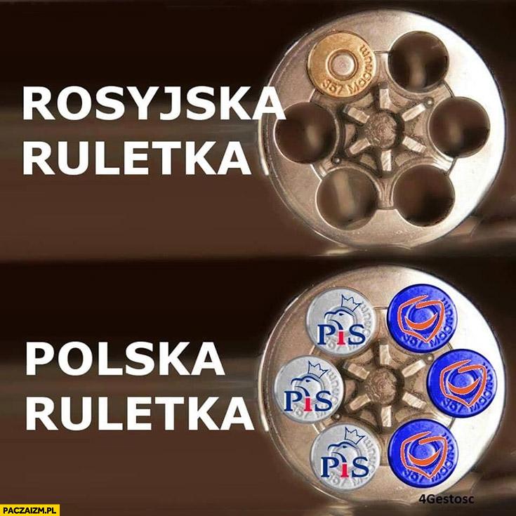 Rosyjska ruletka vs polska ruletka PiS albo PO Prawo i Sprawiedliwość Platforma Obywatelska