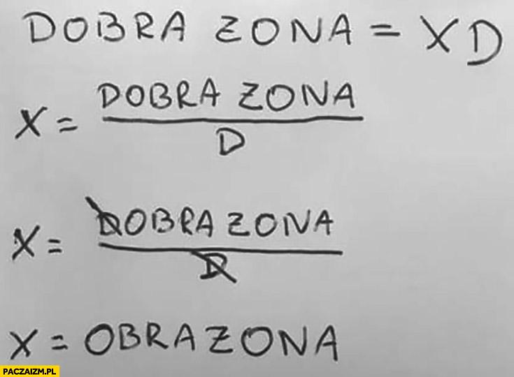 Równanie dobra żona xd x równa się obrażona