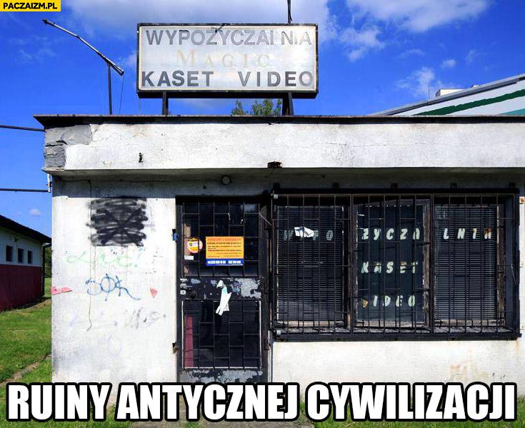 Ruiny antycznej cywilizacji wypożyczalnia kaset video opuszczona
