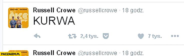 Russell Crowe kurwa na twitterze mecz Polska Portugalia