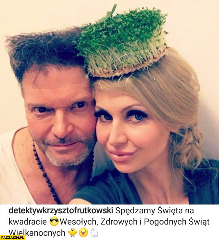 Rutkowski na instagramie spędzamy święta na kwadracie rzeżucha na głowie
