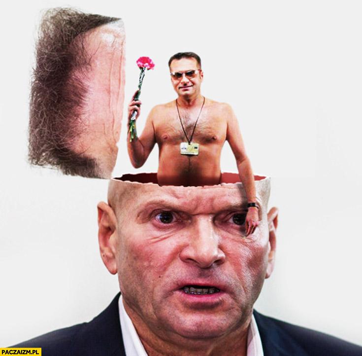 Rutkowski z różą z głowy Rutkowskiego przeróbka Photoshop