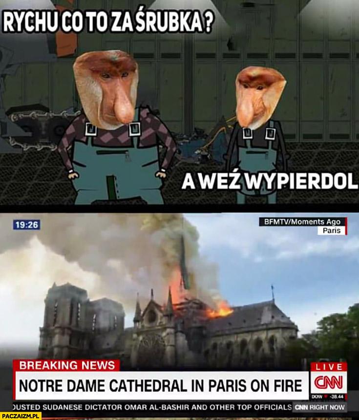 Rychu co to za śrubka? A weź wypierdziel pożar Notre Dame katedry