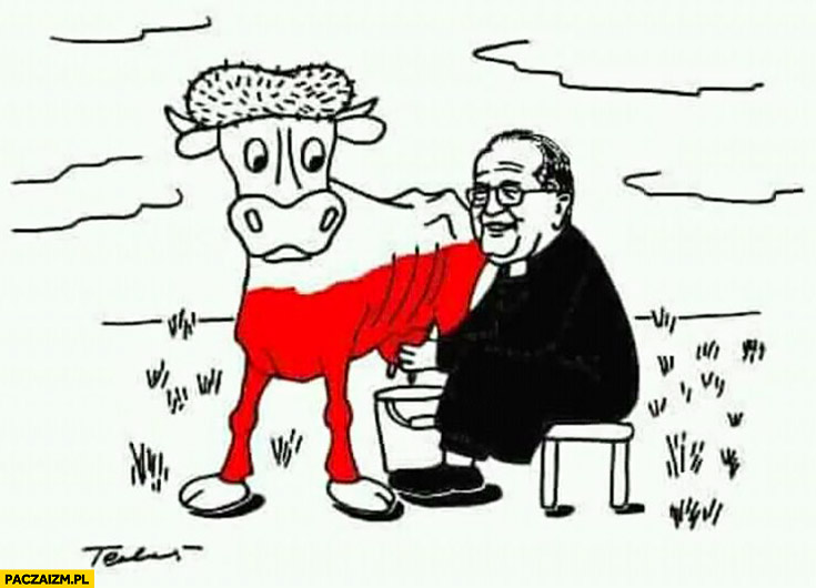 Rydzyk doi krowę Polskę rysunek ksiądz Tadeusz