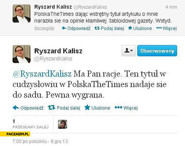 Ryszard Kalisz zapomniał się przelogować na twitterze