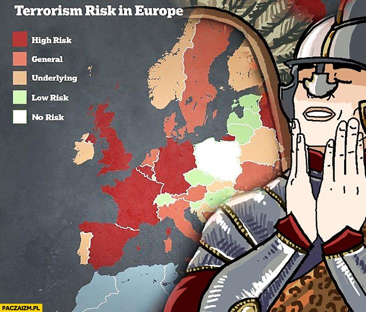 Ryzyko terrorystyczne w krajach w Europie Polska nie ma ryzyka mapa infografika mem mem