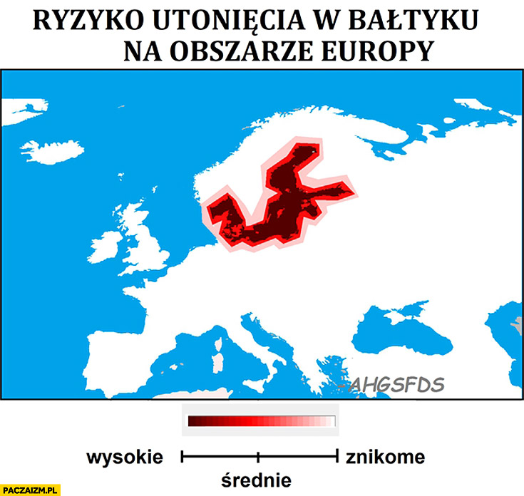 Ryzyko utonięcia w Bałtyku na obszarze Europy mapa wykres mapka