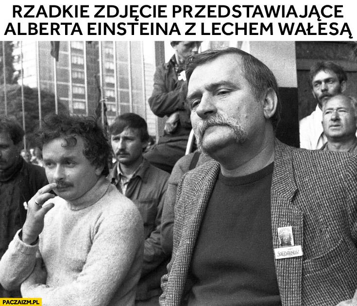 Rzadkie zdjęcie przedstawiające Alberta Einsteina z Lechem Wałęsą Kaczyński