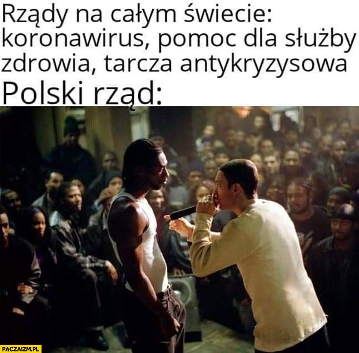 Rządy na całym świecie koronawirus pomoc dla służby zdrowia polski rząd rapuje hot16challenge2 Eminem