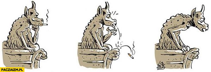 Rzeźba z Notre Dame upuszcza papierosa powoduje pożar rysunek