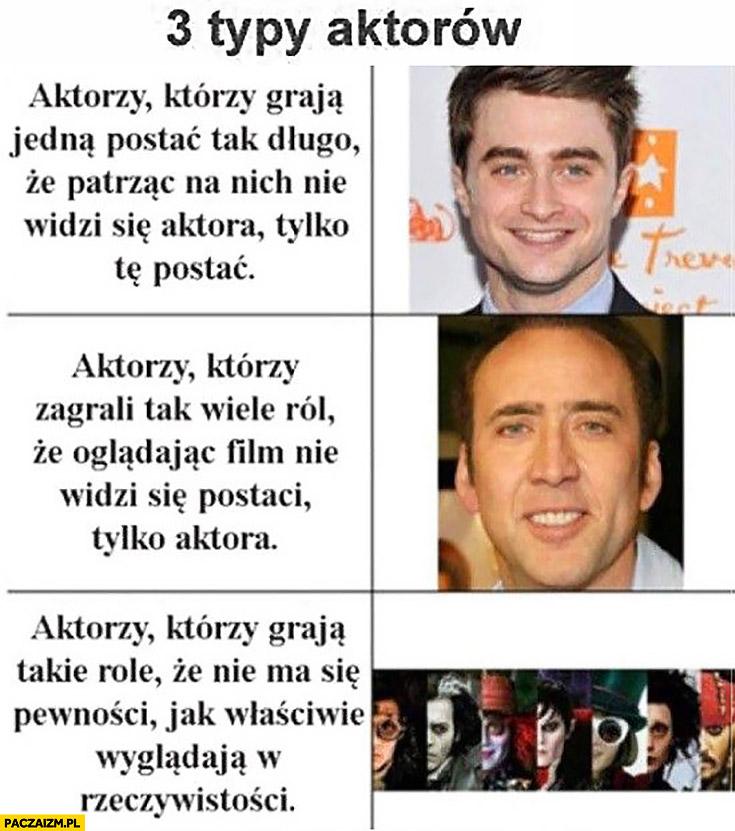 Są 3 typy aktorów: graja jedną postać długo, zagrali wiele ról, grają takie role, że nie ma pewności jak wyglądają Radcliffe Cage Depp