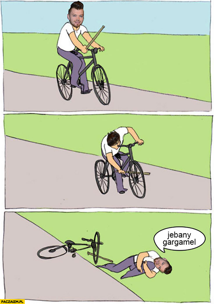 SA Wardęga jedzie na rowerze jechany Gargamel drama YouTube
