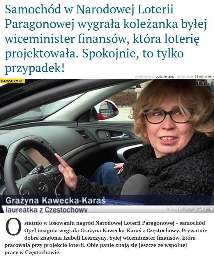 Samochód Opla Insignię w loterii paragonowej wygrała koleżanka wiceminister finansów która projektowała loterię