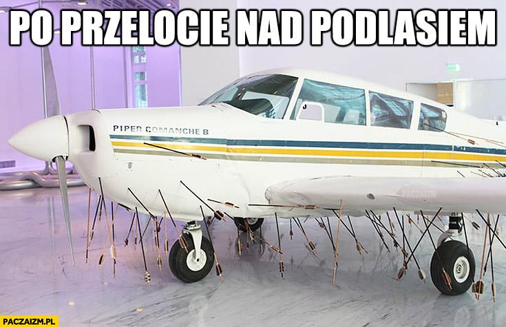 Samolot po przelocie nad Podlasiem cały w strzałach z łuku
