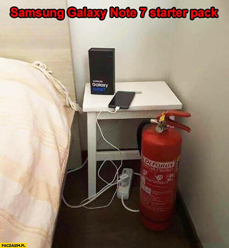 Samsung Galaxy Note 7 starter pack gaśnica przy łóżku