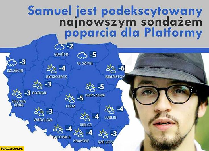 Samuel jest podekscytowany najnowszym sondażem poparcia dla Platformy Samuel Pereira