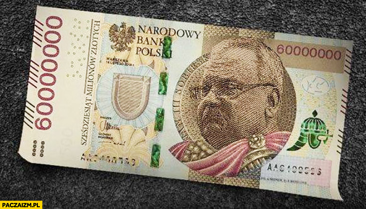 Sapkowski banknot 60 milionów sześćdziesiąt milionów złotych przeróbka