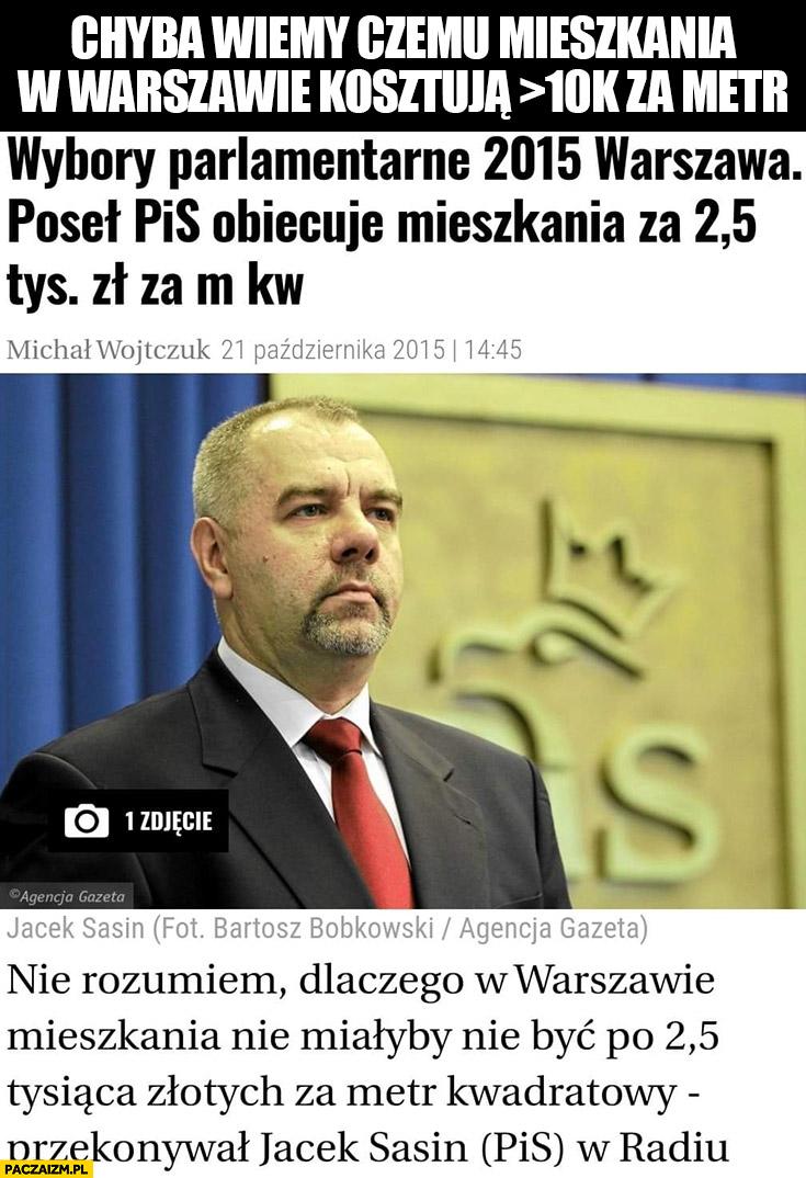 Sasin obiecał mieszkania w Warszawie po 2,5 tysiąca złotych dlatego kosztują ponad 10 tysiecy za metr