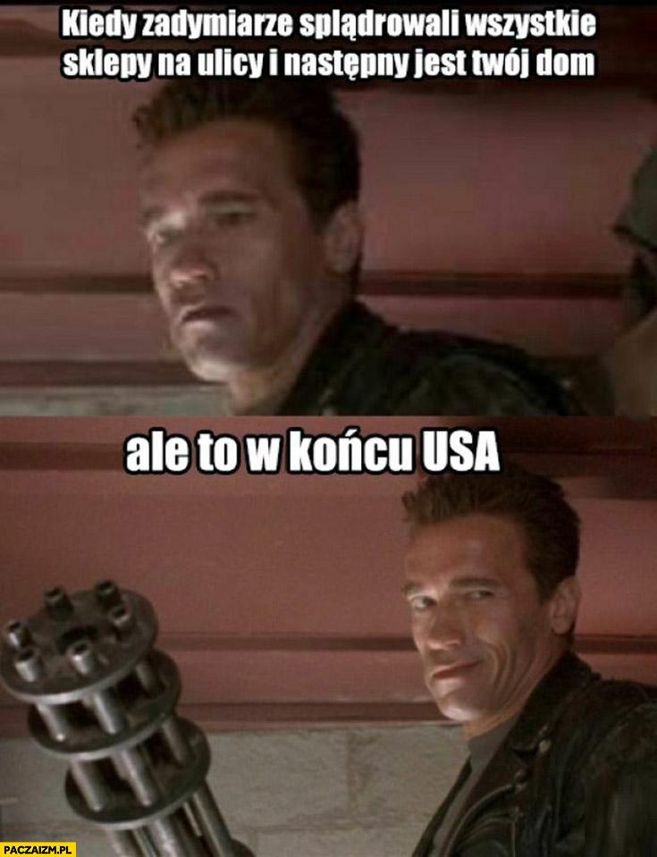 Schwarzenegger kiedy zadymiarze splądrowali wszystkie sklepy na ulicy i następny jest Twój dom ale to w końcu USA karabin minigun