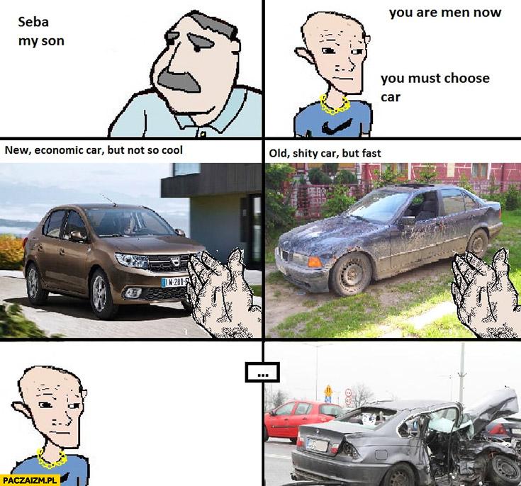 Seba wybierz Dacia Duster czy stare BMW wybrał betę i miał wypadek