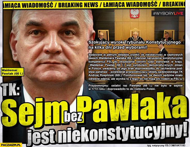 Sejm bez Pawlaka jest niekonstytucyjny faktoid