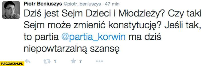 Sejm dzieci i młodzieży czy taki sejm może zmienić konstytucję jeśli tak partia Korwin ma dziś niepowtarzalną szansę