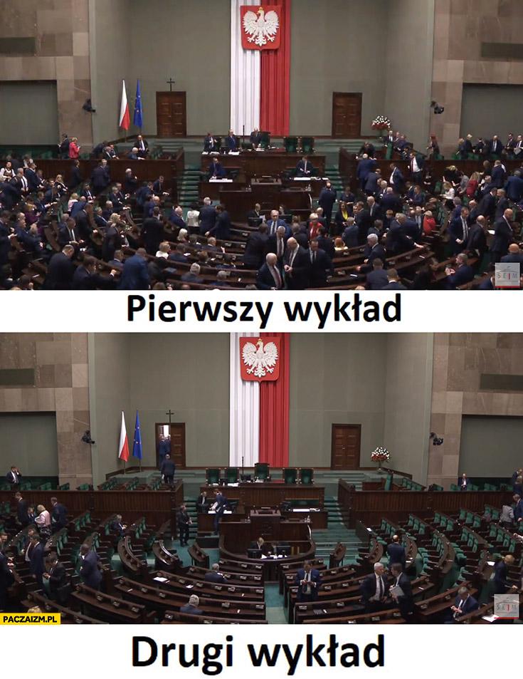 Sejm pierwszy wykład pełna sala, drugi wykład pusto