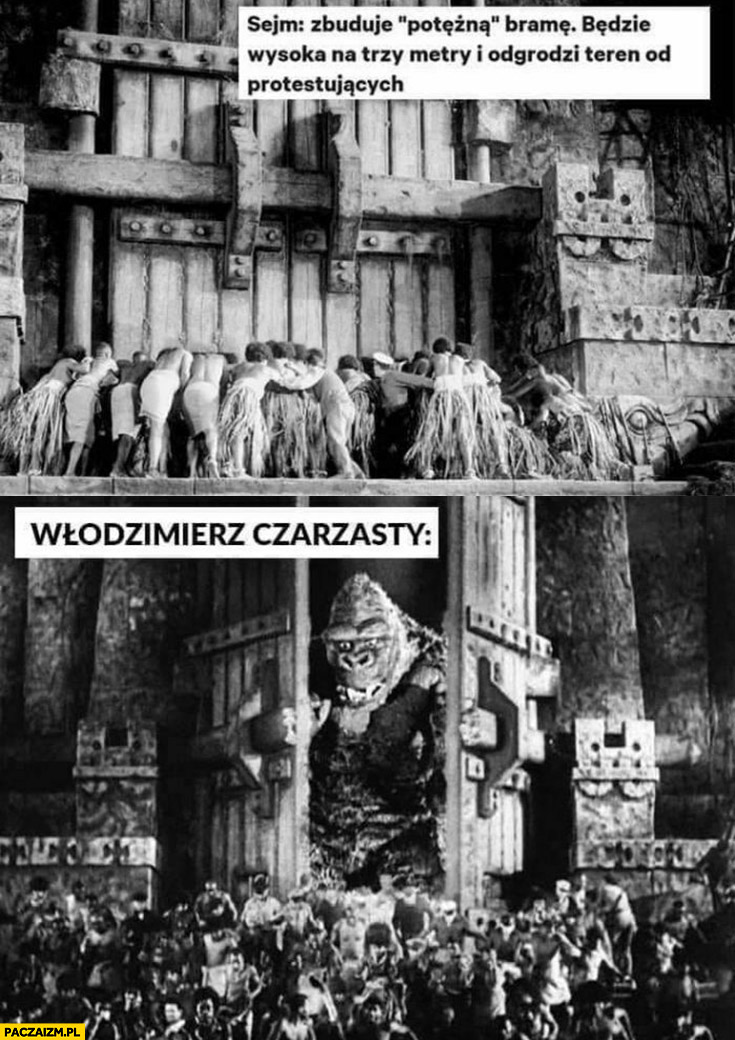 Sejm zbuduje potężną bramę odgrodzi teren od protestujących Włodzimierz Czarzasty Godzilla