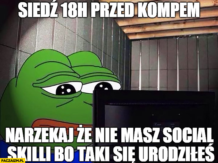 Siedź 18 h przed kompem narzekaj, że nie masz social skilli bo taki się urodziłeś smutna żaba Pepe