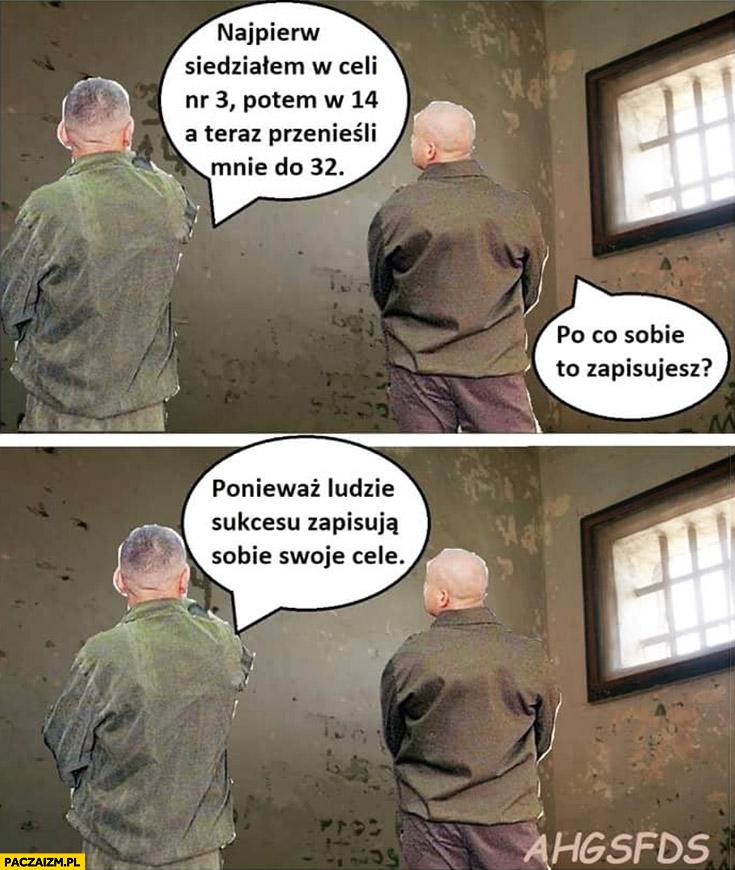 Siedziałem w celi nr 3, przenieśli mnie do 32. Po co to sobie zapisujesz? Ludzie sukcesu zapisują swoje cele rozmowa w więzieniu