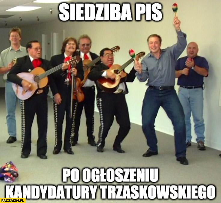 Siedziba PiS po ogłoszeniu kandydatury Trzaskowskiego na prezydenta świętują Elon Musk impreza