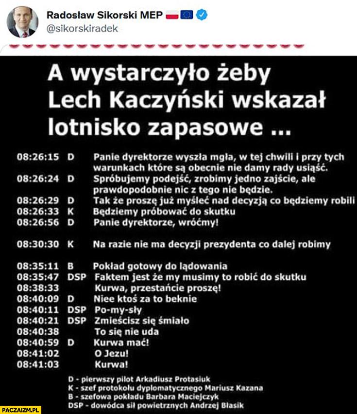 Sikorski smoleńsk stenogramy a wystarczyło żeby Lech Kaczyński wskazał lotnisko zapasowe