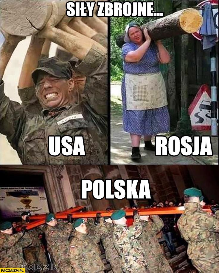 Siły zbrojne USA, Rosja, Polska niosą krzyż porównanie