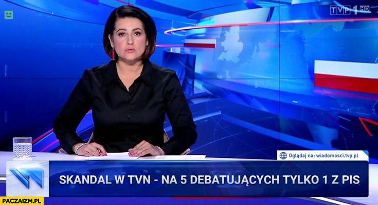 Skandal w TVN na 5 debatujących tylko 1 z PiS pasek Wiadomości TVN