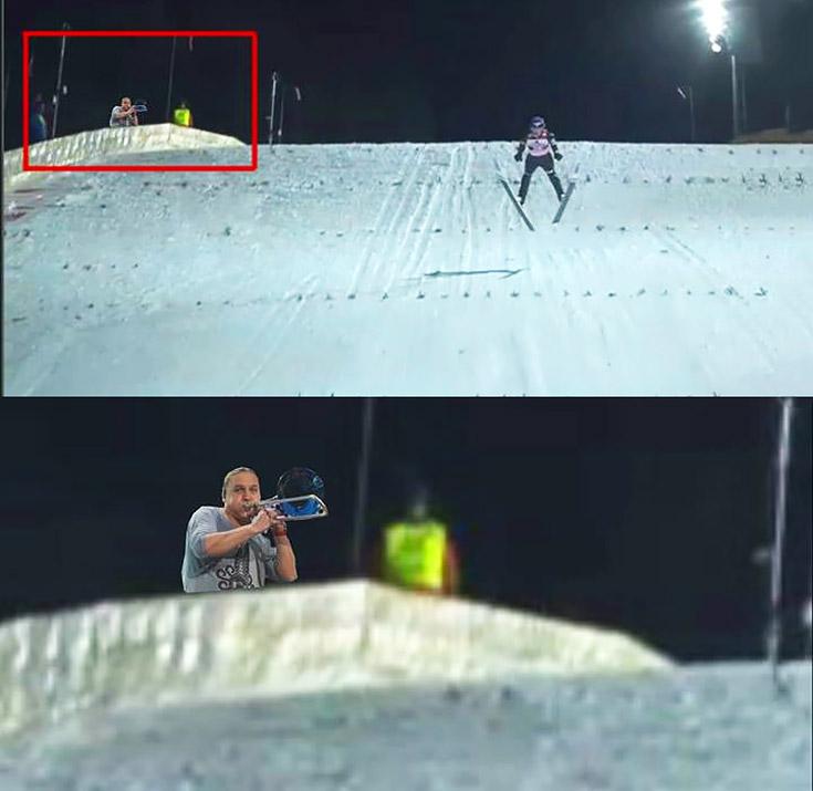 Skoki narciarskie Golec uOrkiestra dmucha trąbi gra na trąbce