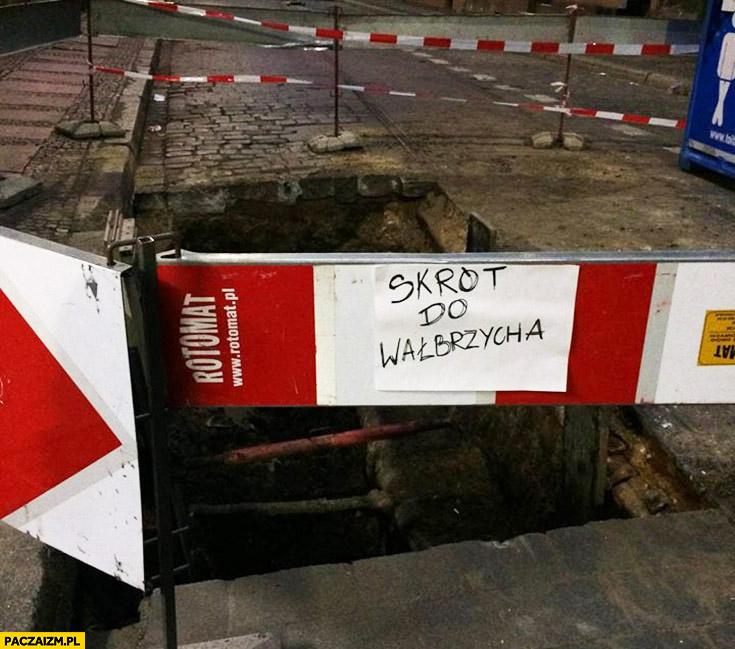 Skrót do Wałbrzycha dziura w ziemi drodze kartka napis Wrocław