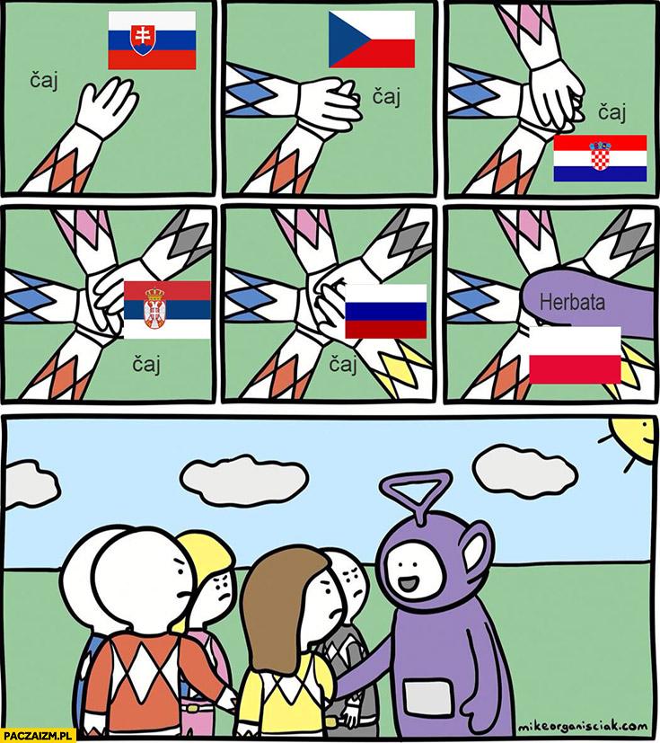 Słowacja Czechy Chorwacja Rosja Słowenia caj Polska herbata teletubiś