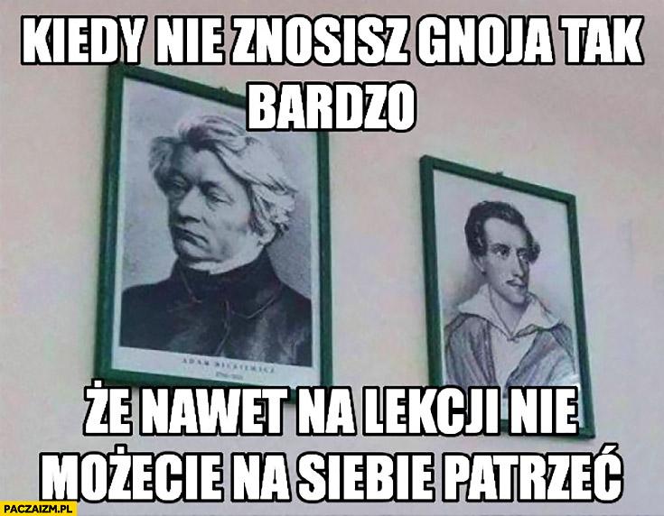 Słowacki Mickiewicz obrazy kiedy nie znosisz gnoja tak bardzo, że nawet na lekcji nie możecie na siebie patrzeć