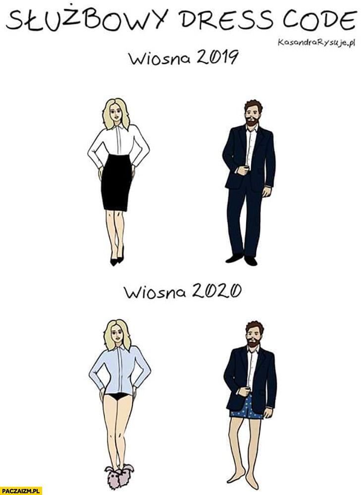 Służbowy dress code wiosna 2019 vs wiosna 2020 bez spodni spódnicy koronawirus