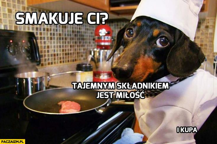 Smakuje Ci tajemnym składnikiem jest miłość i kupa. Pies kucharz