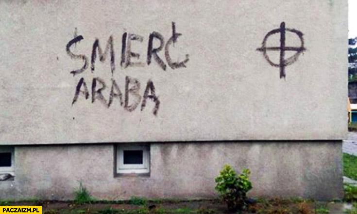 Śmierć Arabą fail napis na murze z błędem