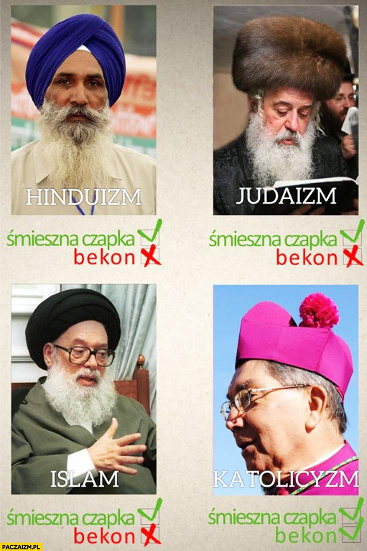 Śmieszna czapka bekon hinduizm judaizm islam katolicyzm