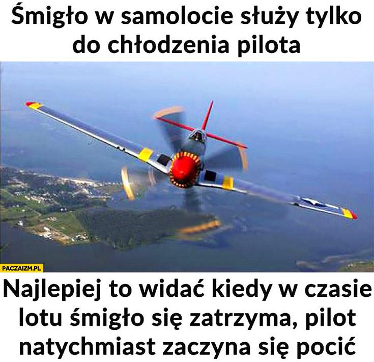 Śmigło w samolocie służy tylko do chłodzenia pilota, najlepiej to widać kiedy w czasie lotu śmigło się zatrzyma pilot natychmiast zaczyna się pocić